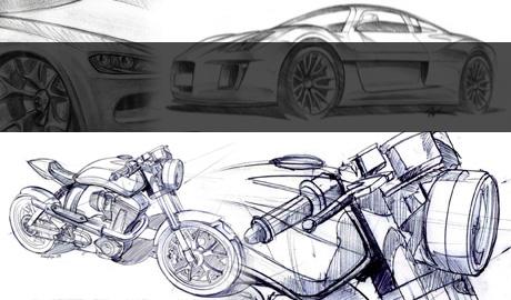 Nuova curvatura design di auto e moto
